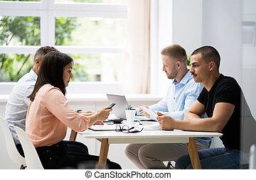 spotkanie, handlowa konferencja, stół