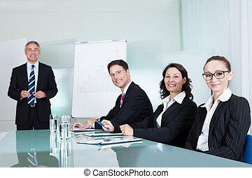 spotkanie, handlowy, dzierżawa, drużyna
