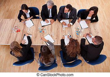 spotkanie, handlowy zaludniają