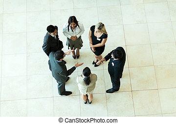 spotkanie, na górze, handlowy, prospekt