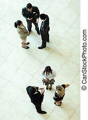 spotkanie, nad, handlowy, prospekt