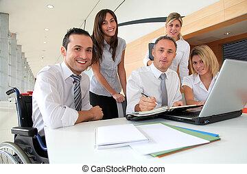 spotkanie, pracownicy, grupa, biuro, handlowy