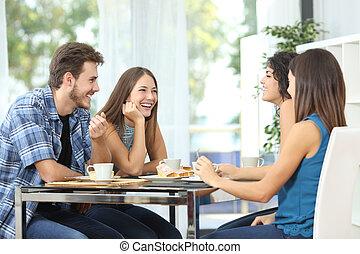 spotkanie, przyjaciele, grupa, dom