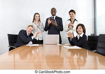spotkanie, współpracowniczki, handlowy