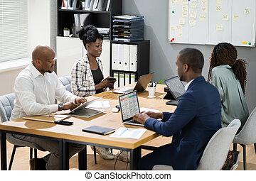 spotkanie, zbiorowy, afrykanin, handlowy, grupa