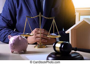 sprawiedliwość, dom ubezpieczenie, pojęcie, prawo