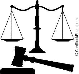 sprawiedliwość, gavel, wektor, skalpy