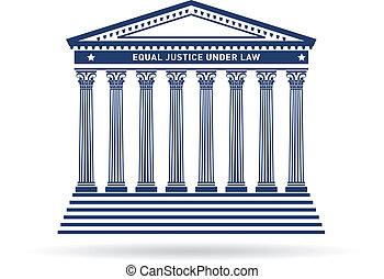 sprawiedliwość, gmach, wizerunek, dziedziniec, logo