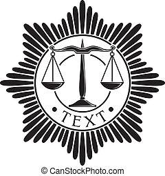 sprawiedliwość, odznaka, skalpy