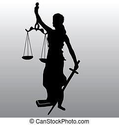 sprawiedliwość, sylwetka, statua