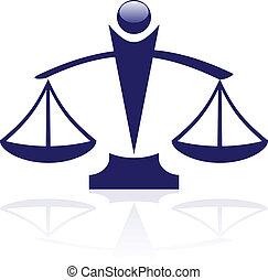 sprawiedliwość, wektor, -, ikona, skalpy