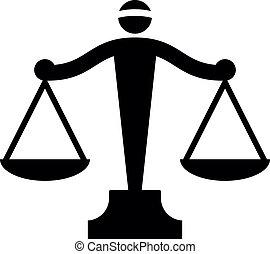 sprawiedliwość, wektor, ikona, skalpy