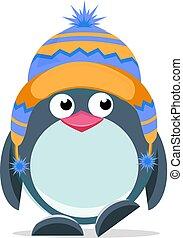 sprytny, 3, ręka, pociągnięty, pingwin