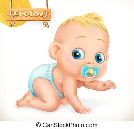 sprytny, 3d, wektor, baby., kid., ikona