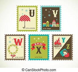 sprytny, alfabet, retro, boże narodzenie, ikony