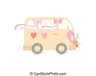 sprytny, autobus, awangarda, romantyk, mini, rocznik wina, ilustracja, wektor, retro, serca, ślub, ozdobny, kwiaty, widok budynku