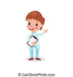 sprytny, chłopiec, clipboard, doktor, ilustracja, wektor, profesjonalny, odzież, interpretacja, koźlę