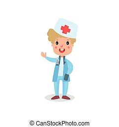 sprytny, chłopiec, doktor, ilustracja, stetoskop, wektor, profesjonalny, odzież, interpretacja, koźlę