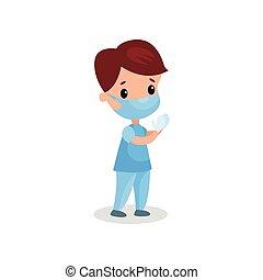 sprytny, chłopiec, medyczny doktor, maska, ilustracja, rękawiczki, wektor, profesjonalny, odzież, interpretacja, koźlę