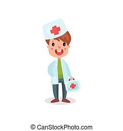 sprytny, chłopiec, profesjonalny, doktor, zestaw, ilustracja, wektor, dziecko, pomagać, posiedzenie, odzież, interpretacja, pierwszy