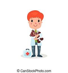 sprytny, chłopiec, teddy, doktor, ilustracja, plusz, wektor, niedźwiedź, profesjonalny, odzież, interpretacja, koźlę