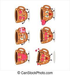 sprytny, ciasteczka, miłość, rysunek, emoticon, kawa, litera