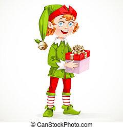 sprytny, dar, asystent, elf, odizolowany, santa, rok, tło, nowy, biały, utrzymywać