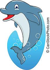 sprytny, delfin, szczęśliwy