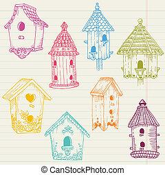 sprytny, dom, -, ręka, ptak, wektor, projektować, pociągnięty, album na wycinki, doodles