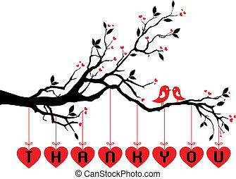 sprytny, drzewo, ptaszki, czerwony, serca