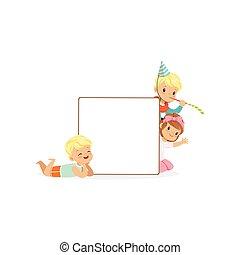 sprytny, dzieciaki, plakat, dziewczyna, biały, ilustracja, chłopcy, wektor, litery, deska, wiadomość, opróżniać