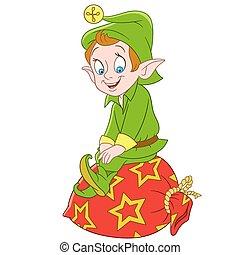 sprytny, elf, rysunek, boże narodzenie