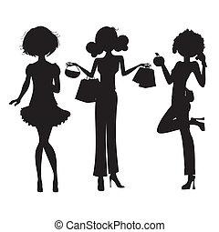 sprytny, fason, dziewczyny, trzy