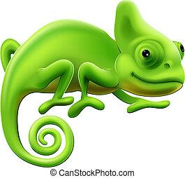 sprytny, ilustracja, kameleon