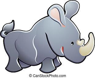 sprytny, ilustracja, wektor, nosorożec