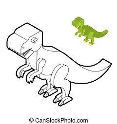 sprytny, isometric, kolorowanie, potwór, jurajski, tyrannosaurus, period., drapieżnik, book., dino., dinozaur, prehistoryczny, gadzina, zwierzę, starożytny, t-rex, style., linearny