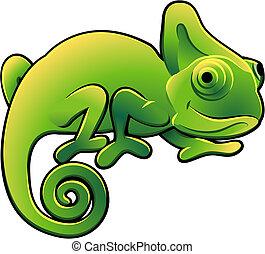 sprytny, kameleon, ilustracja, wektor