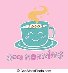 sprytny, kawa, dobry, filiżanka, ilustracja, rano, rysunek