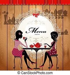 sprytny, kawiarnia, projektować, karta, menu
