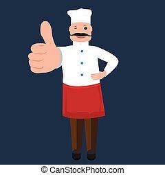 sprytny, kciuk, pokaz, mistrz kucharski, wektor, kok, człowiek