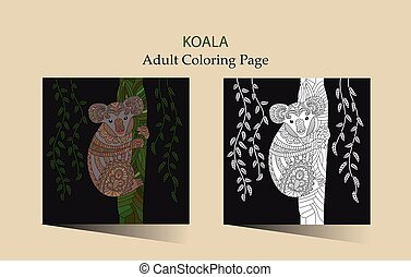 sprytny, kolorowanie, adults, ręka, wektor, zentangle, pociągnięty, koala., strona