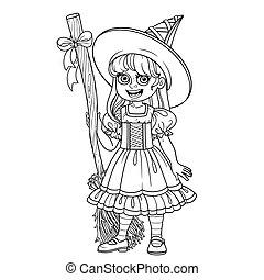 sprytny, kolorowanie, konturowany, czarownica, kostium, dziewczyna, strona