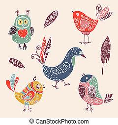 sprytny, komplet, kolor, doodle, ptaszki, rocznik wina, rysunek