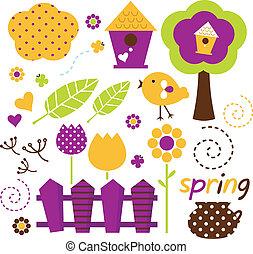 sprytny, komplet, ogród, ), wiosna, odizolowany, wektor, retro, (, biały