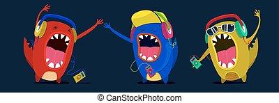 sprytny, komplet, potwór, graphic., muzycy, muzyka, miłośnik, albo, słuchać