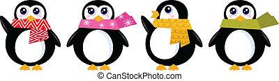 sprytny, komplet, zima, ), (, odizolowany, wektor, retro, biały, pingwin