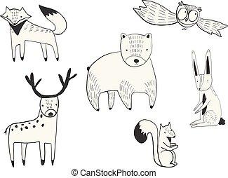 sprytny, komplet, zwierzęta, doodle, wektor, las