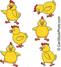 sprytny, kurczak, komplet, rysunek