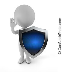 sprytny, ludzie, -, cyber, ochrona, 3d