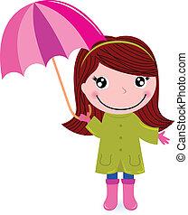 sprytny, mała dziewczyna, deszcz, umrella